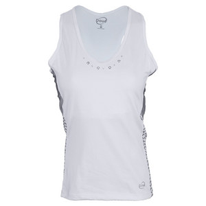 DOUE WOMENS PRINTED TENNIS TANK WHITE