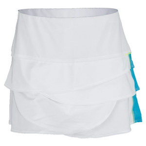 LUCKY IN LOVE WOMENS SCALLOP TENNIS SKIRT WHITE