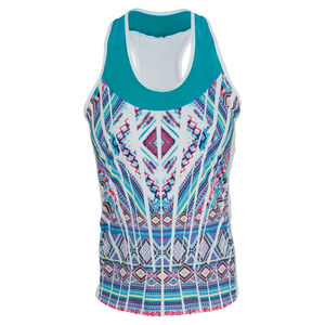 LUCKY IN LOVE WOMENS MAYAN RACERBACK TENNIS TANK PRINT