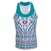 LUCKY IN LOVE Women`s Mayan Racerback Tennis Tank Print