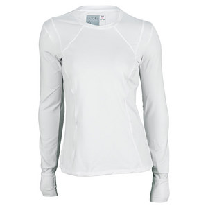 LUCKY IN LOVE WOMENS CORE LONG SLEEVE TENNIS CREW WH