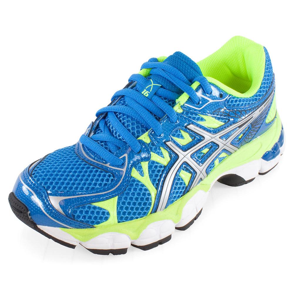 Junior's Gel Nimbus 16 Running Shoes Island Blue And Lightning