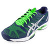 ASICS Men`s Gel Solution Speed 2 Clay Court Tennis Shoes Navy and Neon Green