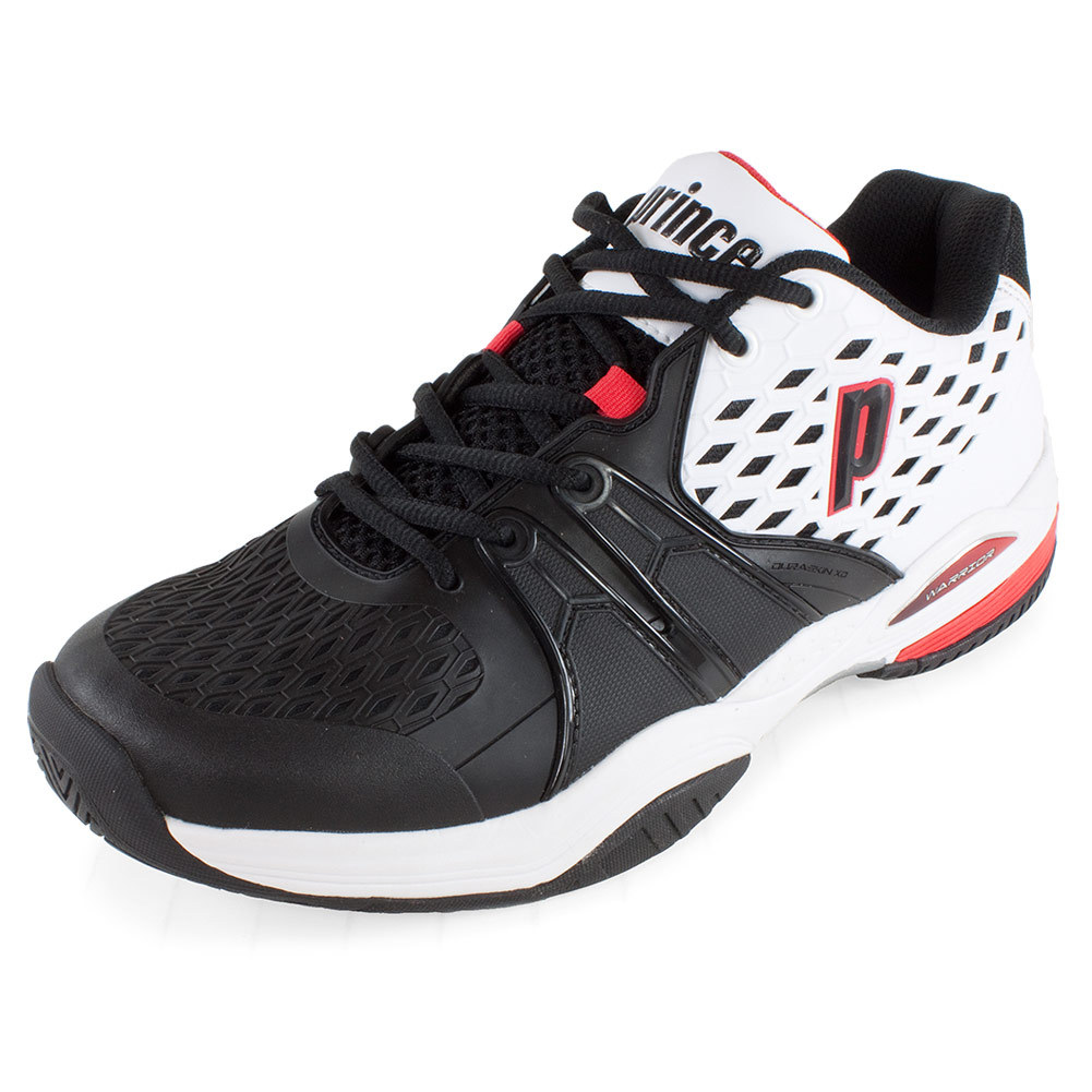 prince s warrior tennis shoes white and bla