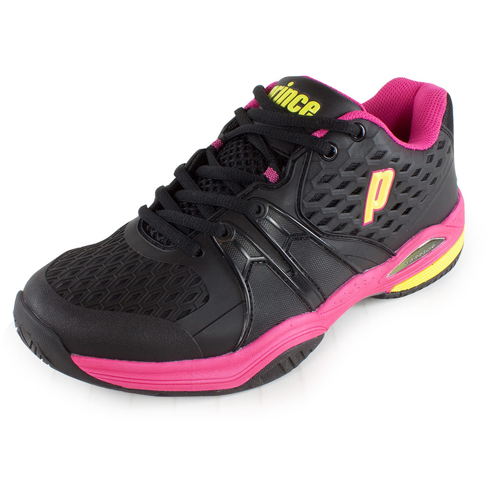 prince s warrior tennis shoes black and pink