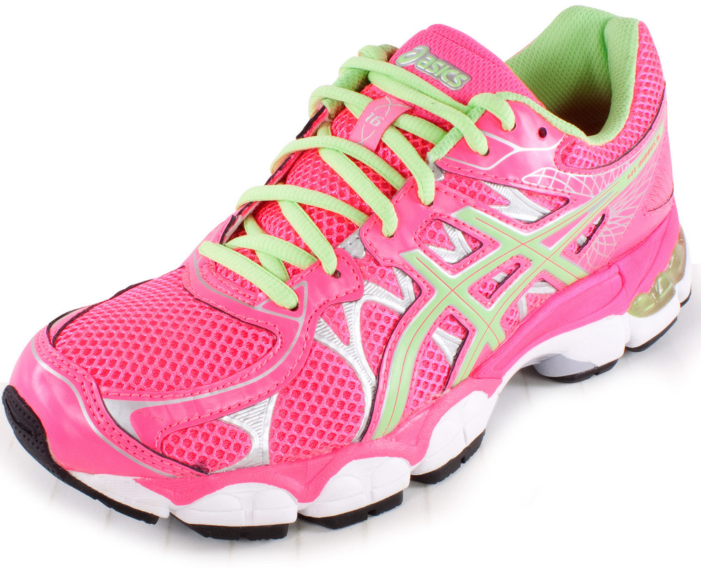 Junior's Gel Nimbus 16 Running Shoes Hot Pink And Mint