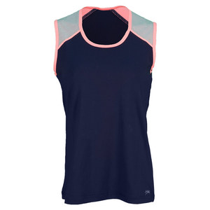 SOFIBELLA WOMENS CLASSIC SLVELESS TENNIS TOP NAVY