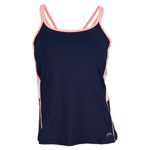 SOFIBELLA WOMENS ATHLETIC CAMI TENNIS TOP NAVY