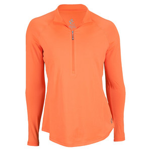 JOFIT WOMENS LANAI LS MOCK TENNIS TOP ORANGE
