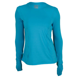 LUCKY IN LOVE WOMENS LONG SLEEVE TENNIS CREW OCEAN BL