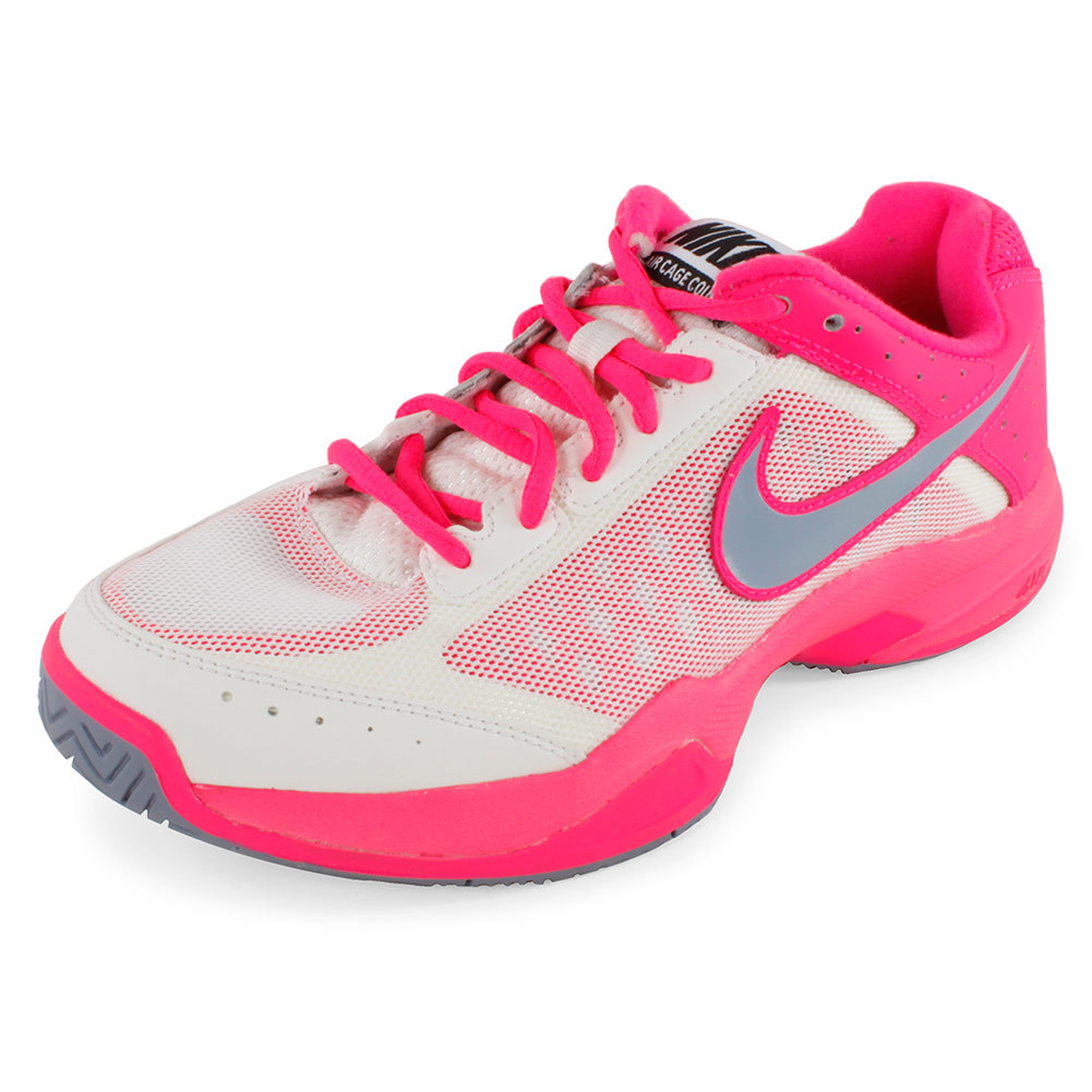 Nike Women's Air Cage Court Tennis Shoes Ivory and Hyper Pink - Tennis Express