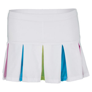 LUCKY IN LOVE GIRLS PLEAT TENNIS SKIRT WHITE