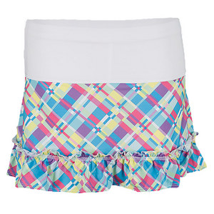 LUCKY IN LOVE GIRLS PLAID RUFFLE TENNIS SKIRT PRINT