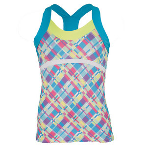 LUCKY IN LOVE GIRLS PLAID CAMI TENNIS TOP PRINT