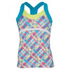 LUCKY IN LOVE Girls` Plaid Cami Tennis Top Print