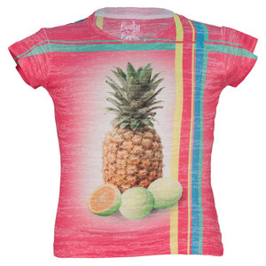 LUCKY IN LOVE GIRLS PINEAPPLE TENNIS TEE PINK