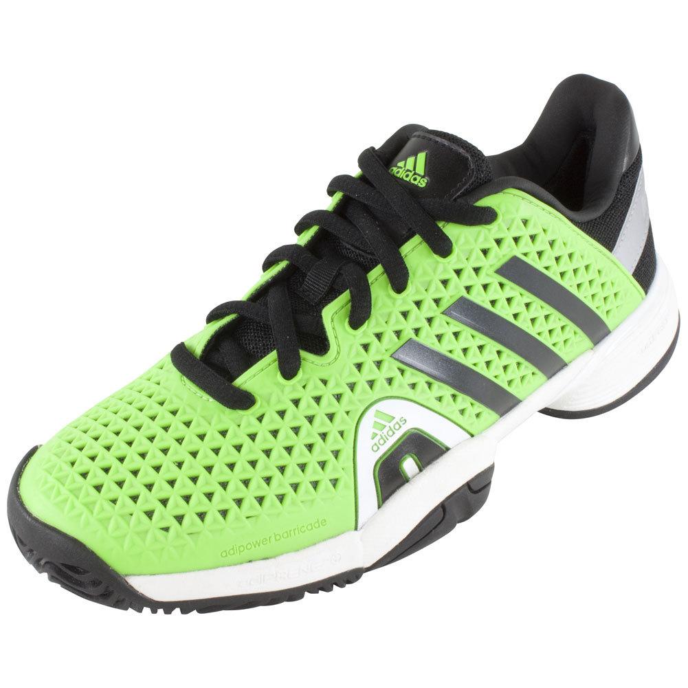 adidas juniors barricade 8 tennis shoes solar green and