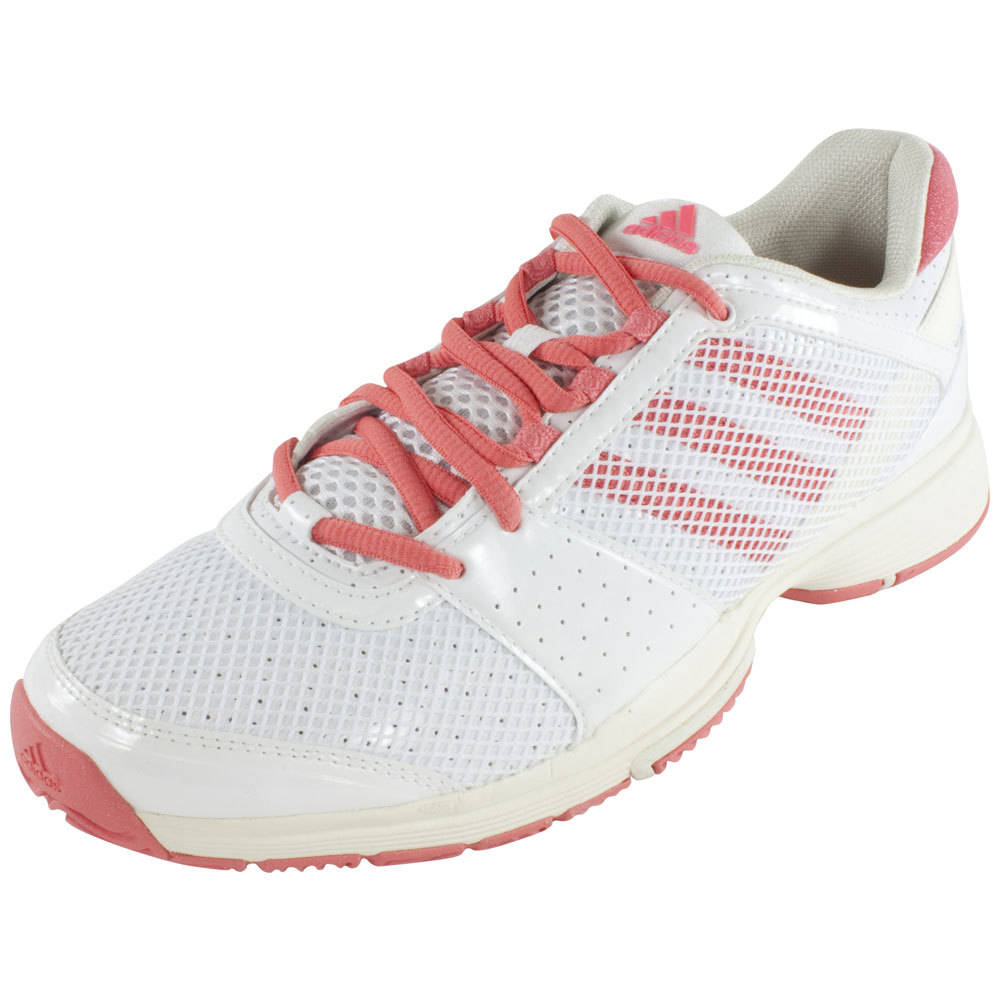 Women's Barricade Team 3 Tennis Shoes Core White And Poppy Pink