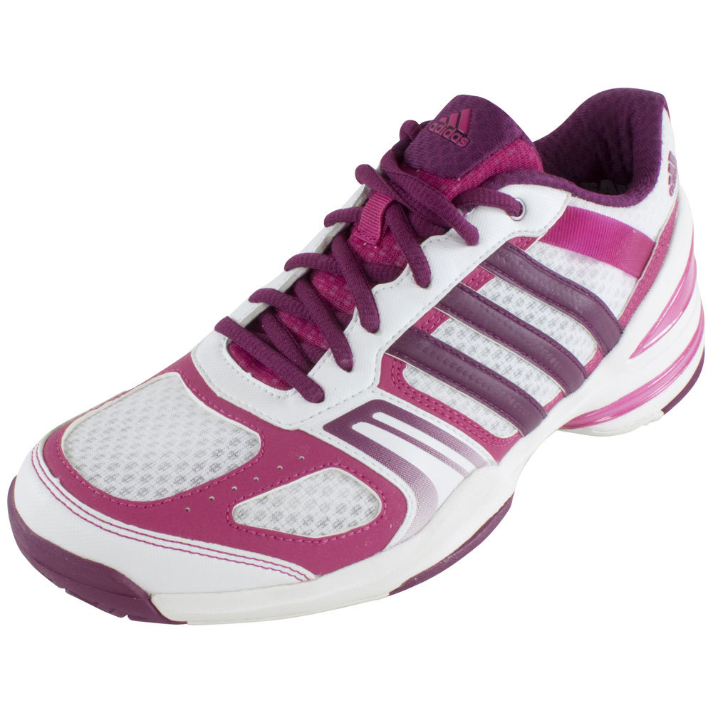 Women's Rally Court Tennis Shoes Core White And Tribe Berry