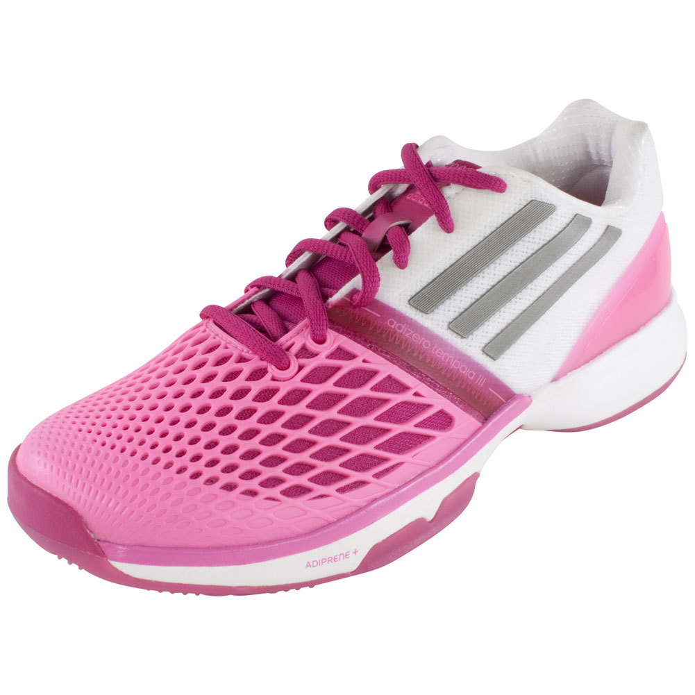 Women`s CC Adizero Tempaia III Tennis Shoes Bold Pink and Core White