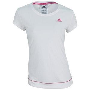 adidas WOMENS GALAXY TNS TEE WHITE/BOLD PINK
