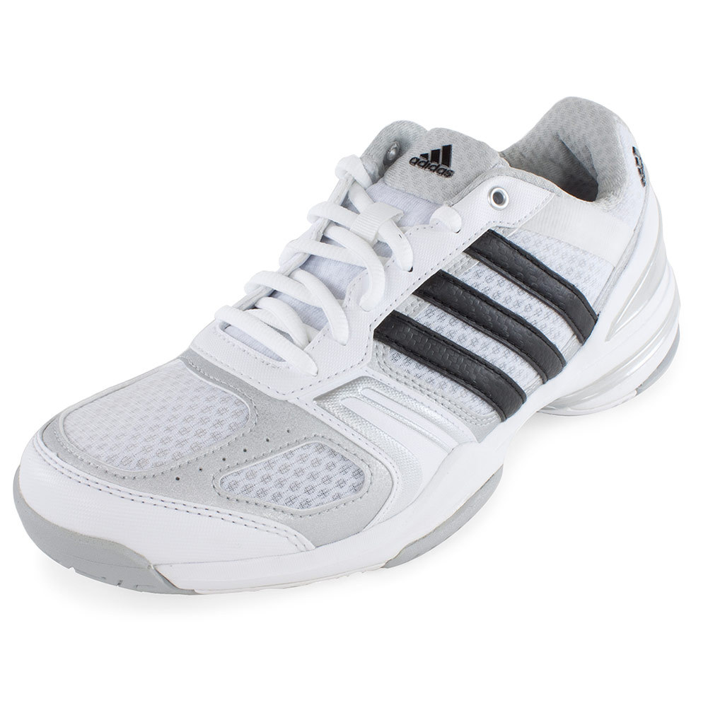 ADIDAS Women's Rally Court Tennis Shoes Core White and Silver Metallic - Tennis Express