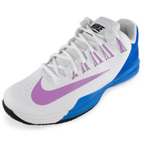 Men`s Lunar Ballistec Tennis Shoes White and Photo Blue