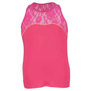 LUCKY IN LOVE GIRLS RACERBACK LACE TENNIS TANK SH PINK
