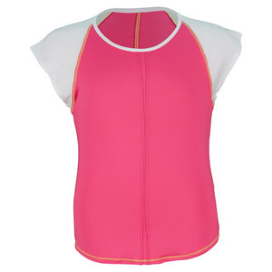 LUCKY IN LOVE GIRLS SHORT SLEEVE TENNIS TOP SHOCK PINK