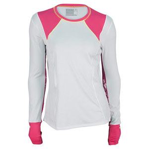 LUCKY IN LOVE WOMENS LONG SLEEVE TENNIS CREW WH/SHK PK