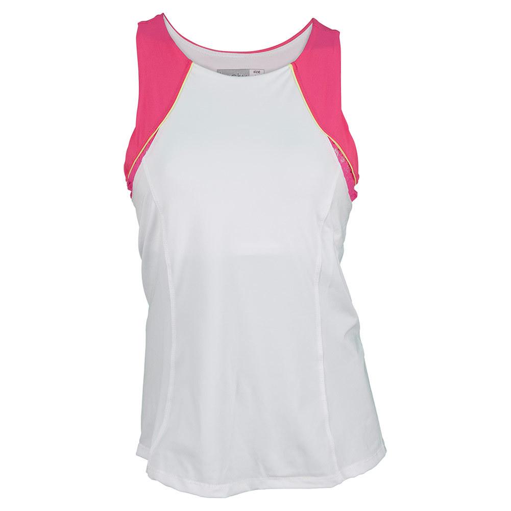 Women's High Neck Tennis Tank White And Shocking Pink