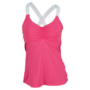 LUCKY IN LOVE WOMENS TENNIS CAMI SHOCKING PINK