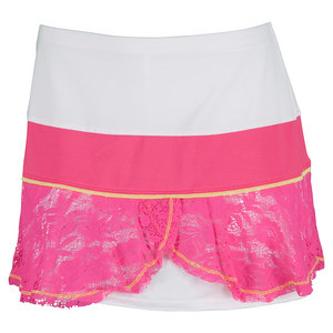 LUCKY IN LOVE WOMENS FLOUNCE TENNIS SKIRT SHOCKING PK