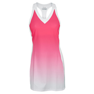 FILA WOMENS BASELINE TENNIS DRESS PINK GLO/WH