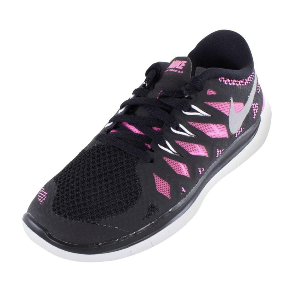 Tennis Express | NIKE Girls` Free 5.0 Running Shoes Black and Pink Glow