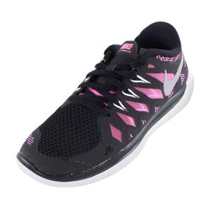Girls` Free 5.0 Running Shoes Black and Pink Glow