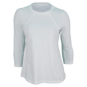 SOFIBELLA WOMENS CLASSIC 3/4 SLV TENNIS TOP WHITE