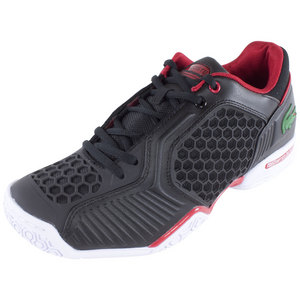 LACOSTE MENS REPEL COURT TENNIS SHOES BLACK/RED