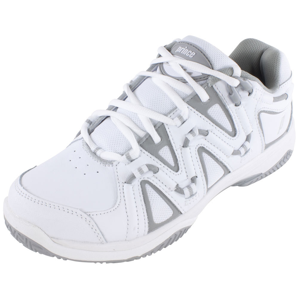 prince s qt scream 4 clay tennis shoes white and silver