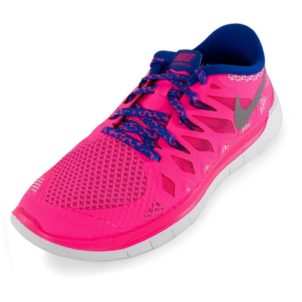 NIKE Girls` Free 5.0 Running Shoes Hyper Pink and Game ...