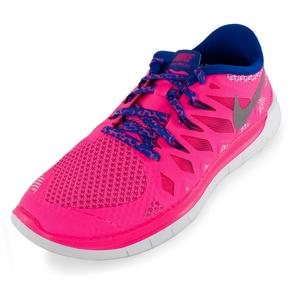 Girls` Free 5.0 Running Shoes Hyper Pink and Game Royal