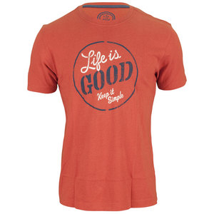 LIFE IS GOOD MENS KEEP IT SIMPLE TEE FIERY ORANGE