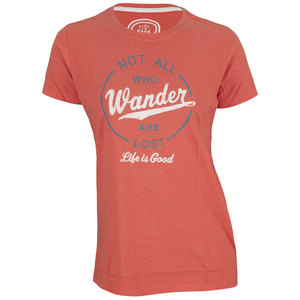LIFE IS GOOD WOMENS CREAMY WANDER TEE CHILI RED