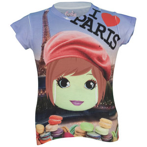LUCKY IN LOVE GIRLS PARIS BALL TENNIS TEE PRINT