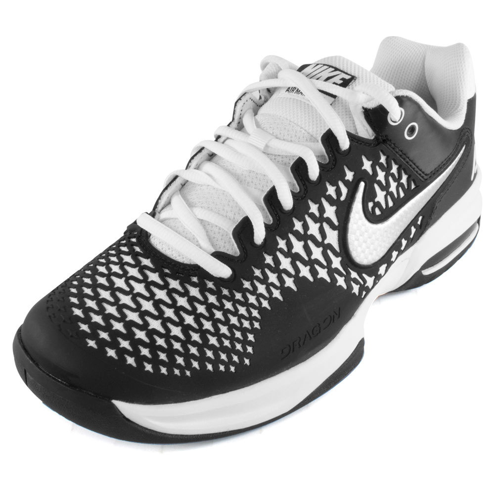 Juniors ` Air Max Cage Tennis Shoes Black And White
