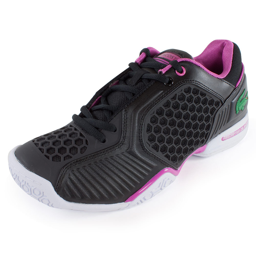 s repel court tennis shoes black and pink