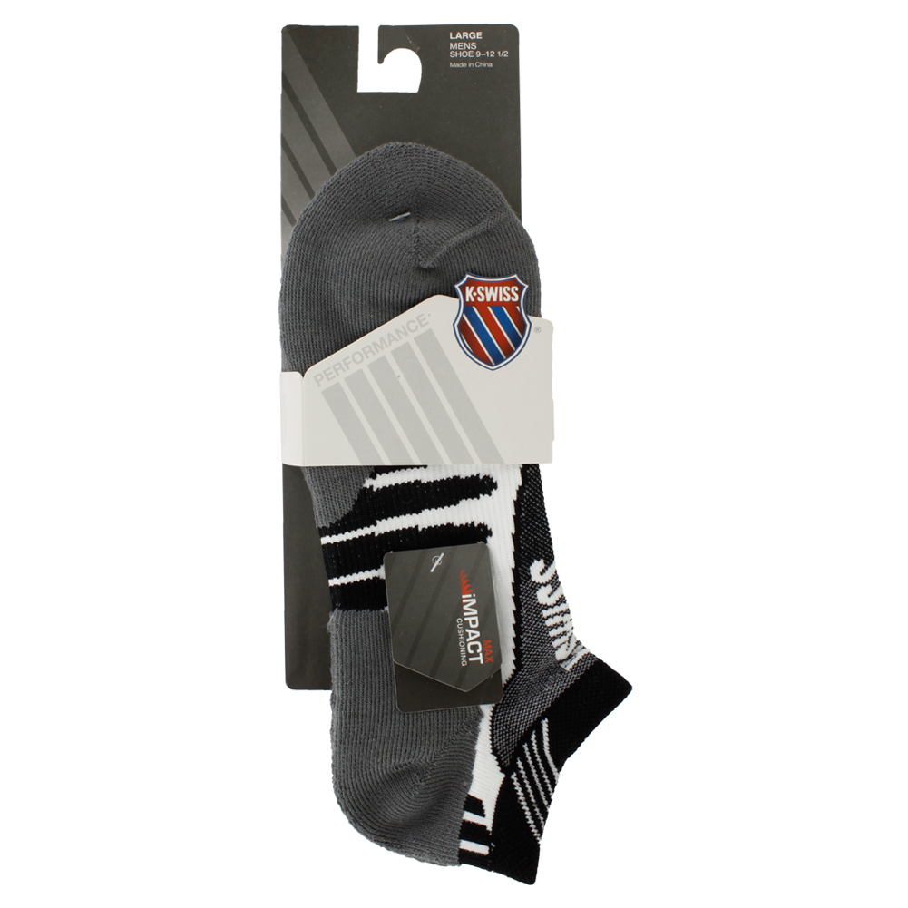 Men`s Impact Max No Show Socks 9-12.5 White and Black