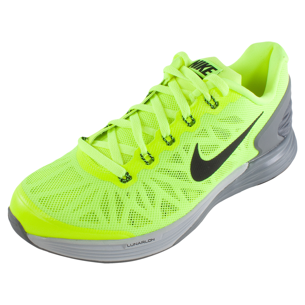 nike boys lunarglide 6 running shoes volt and wolf gray