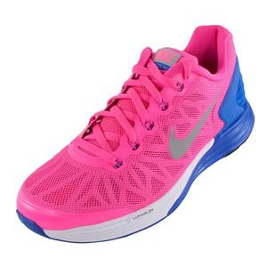 Girls` Lunarglide 6 Running Shoes Hyper Pink and Hyper Cobalt