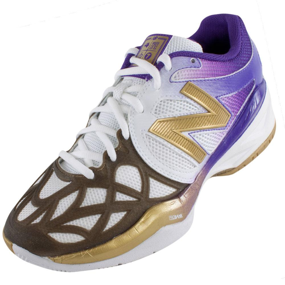 Women's 996 Tennis Shoes White, Gold, Purple